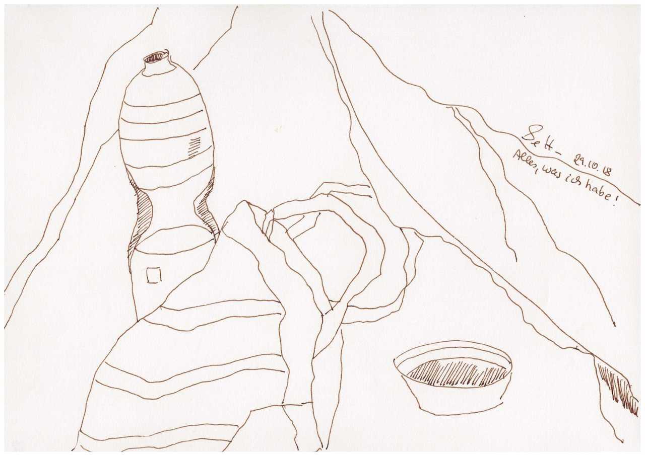 Obdachlos - Alles was ich habe Version 3 - Zeichnung von Susanne Haun - 20 x 30 cm (c) VG Bild Kunst, Bonn 2018