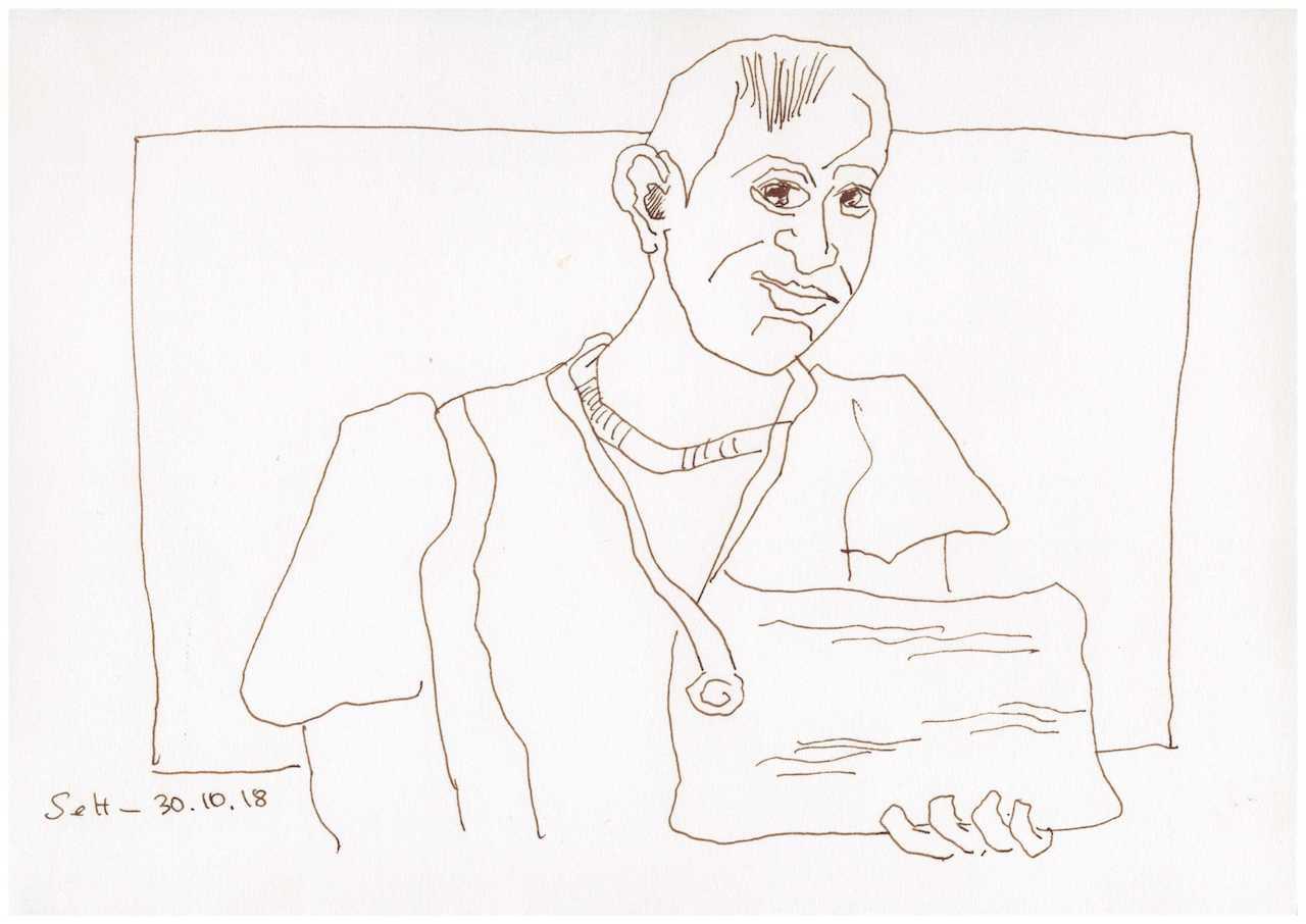Obdachlos - Zeitungsverkäufer - Version 2 - Zeichnung von Susanne Haun - 20 x 30 cm (c) VG Bild Kunst, Bonn 2018