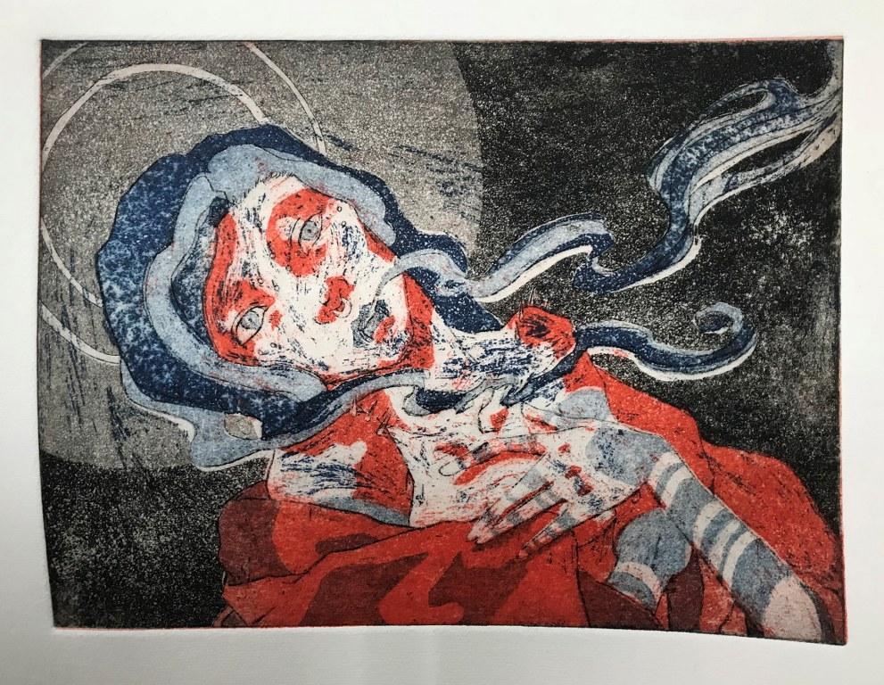 Workshop Radierung im Atelier - Meike Lander - Ergebnis Aquatinta blaue, rote und schwarze Platte - Dozentin Susanne Haun (c) VG Bild Kunst, Bonn 2018