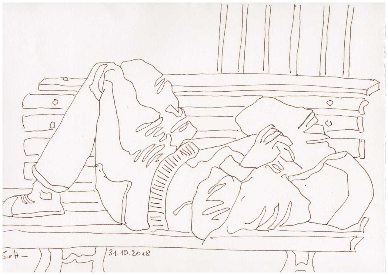 Obdachlos - Es wird Winter - Zeichnung von Susanne Haun - 20 x 30 cm (c) VG Bild Kunst, Bonn 2018