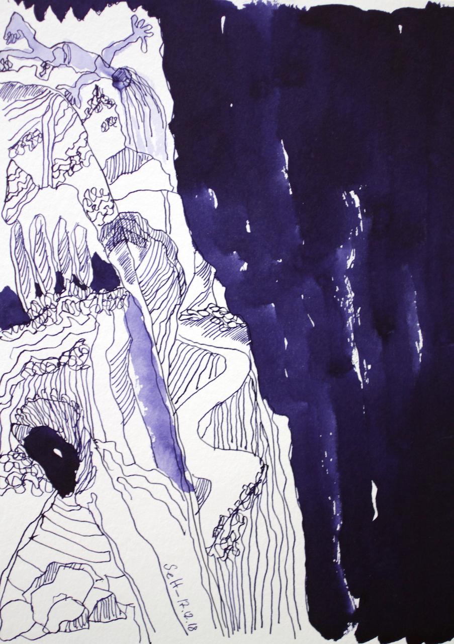 Es war der Rand eines Abrunds - Tusche auf Aquarellkarton - 24 x 32 cm - Zeichnung von Susanne Haun (c) VG Bild Kunst, Bonn 2018