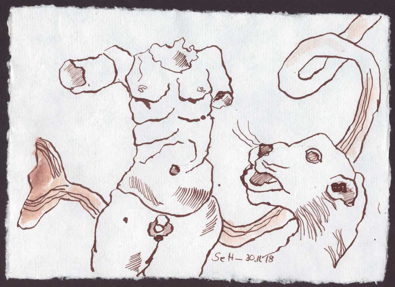 Verbindung der porösen Vergangenheit - 15 x 20 cm - Silberburg Büttenpapier - Zeichnung von Susanne Haun (c) VG Bild Kunst, Bonn 2018