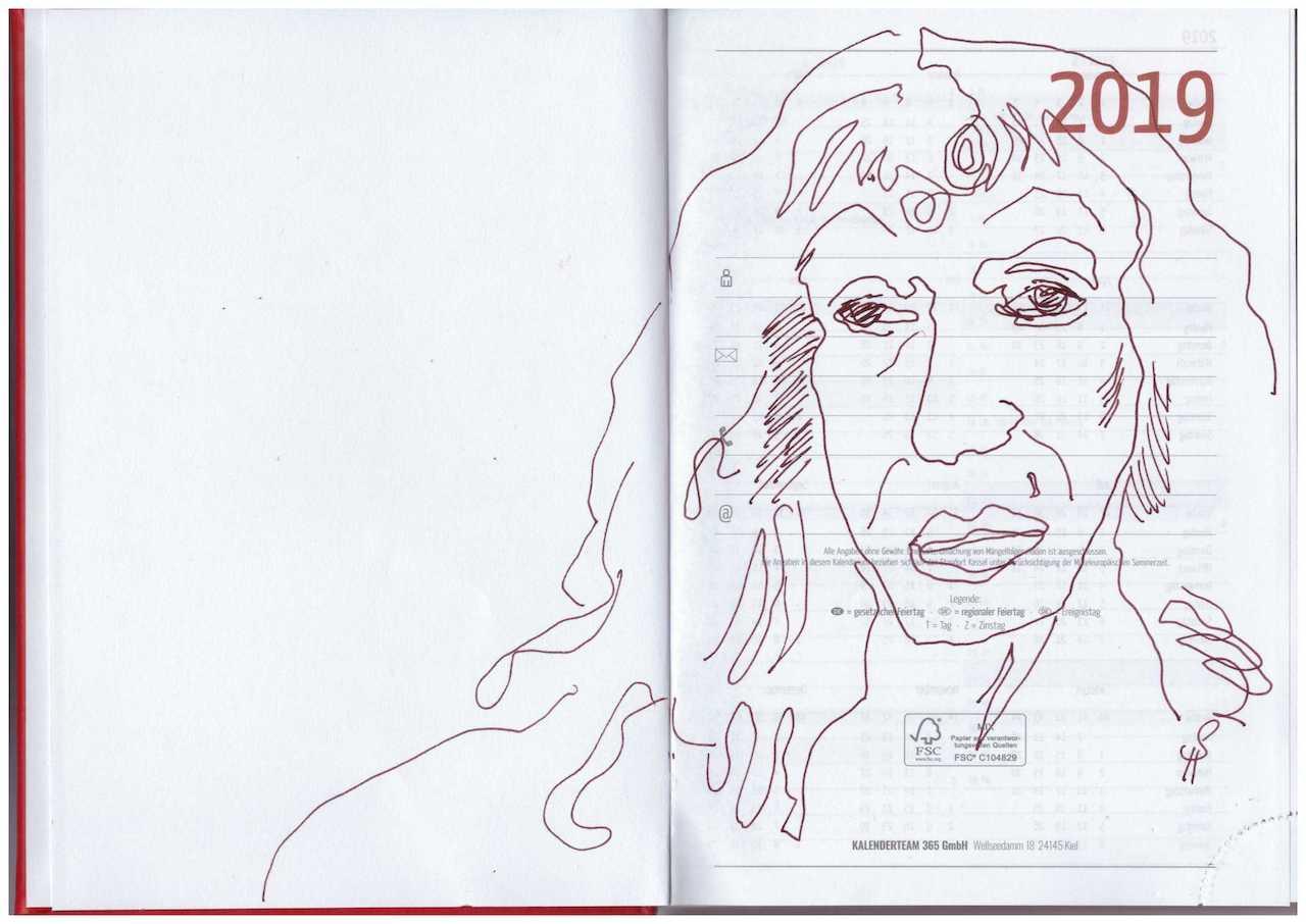 Selbst auf Kalenderblatt 2019, 21 x 15 cm, Tusche auf Papier (c) VG Bild-Kunst, Bonn 2019