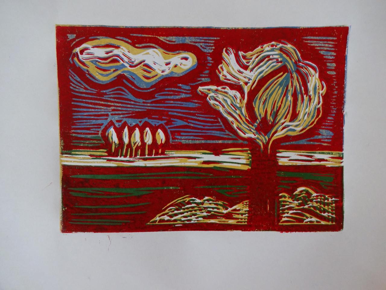 Druck der Linolplatte von der zweiten Bearbeitungsstufe in rot, Foto von Susanne Haun (c) VG Bild-Kunst, Bonn 2019