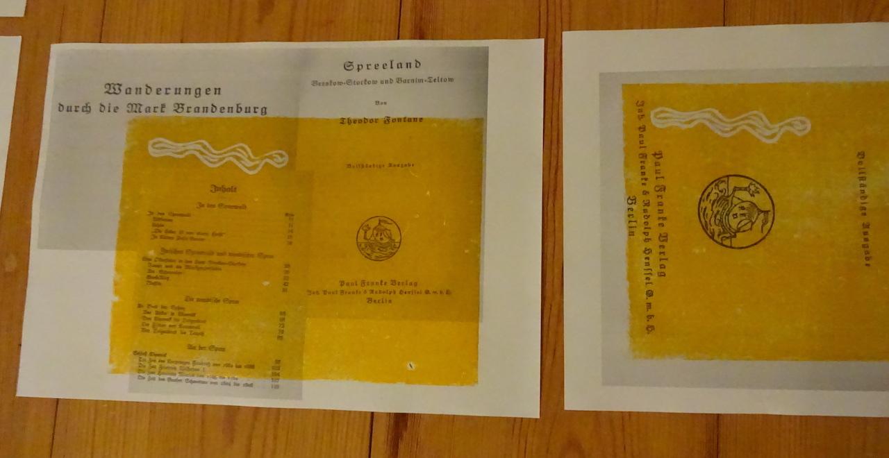 Der erste Druck mit gelber Farbe auf Fontanes Wanderungen, Foto von Susanne Haun (c) VG Bild-Kunst, Bonn 2019