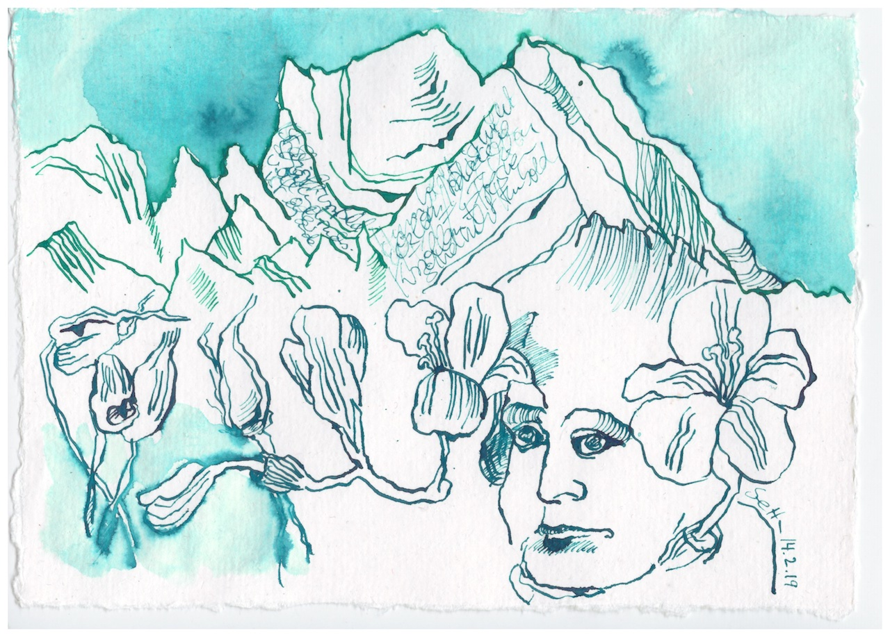 Mein Sinnbild von Humboldt, Zeichnung von Susanne Haun, 15 x 20 cm, Tusche auf Bütten (c) VG Bild-Kunst, Bonn 2019