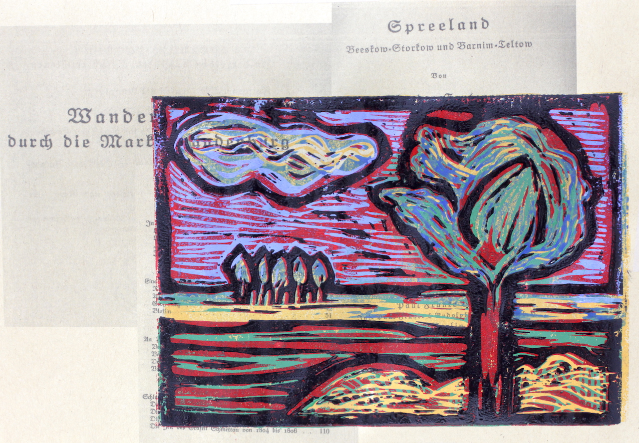 Bild 8 - Zwischen Straupitz und Laasow - Version 2 - Linolschnitt von Susanne Haun - 15 x 21 cm - 4 von 23
