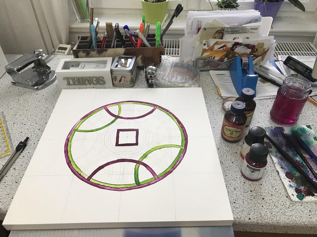 Das Diagramm entsteht, hier muss ich auf jeden Fall mit dem Zirkel vorarbeiten (c) Foto von Susanne Haun