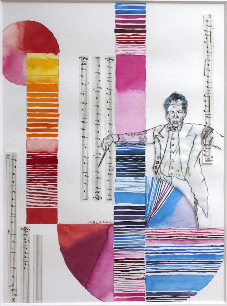 Portrait Karajan, Zeichnung von Susanne Haun, 40 x 30 cm, Tusche auf Aquarellkarton, Collage (c) VG Bild-Kunst, Bonn 2019