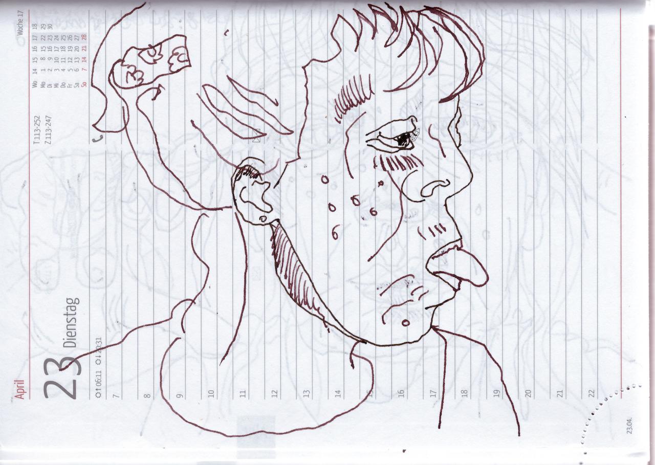 Selbstbildnisstagebuch 9.4. - 30.4.2019, Zeichnung von Susanne Haun (c) VG Bild-Kunst, Bonn 2019
