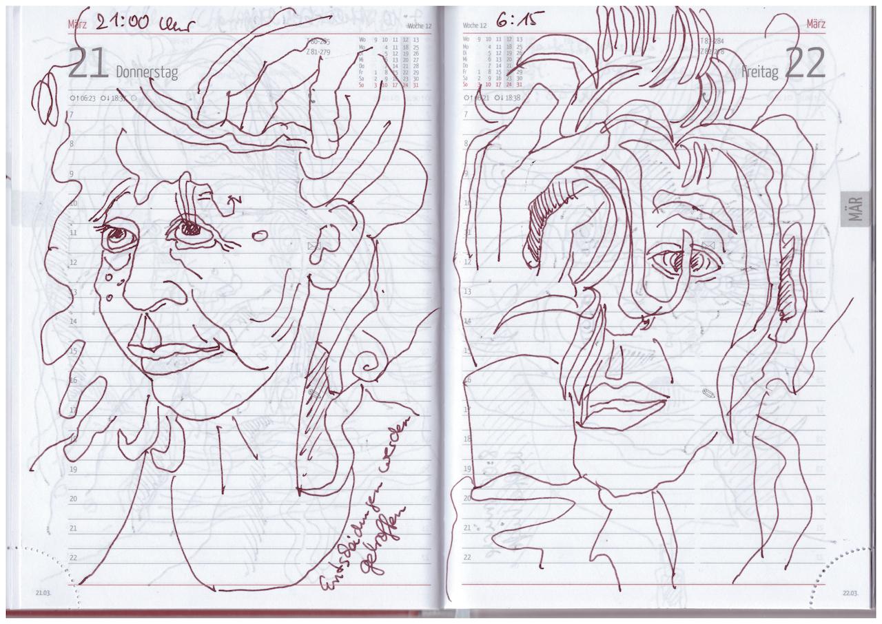 Selbstbildnisstagebuch 21.3. - 8.4.2019, Zeichnung von Susanne Haun (c) VG Bild-Kunst, Bonn 2019