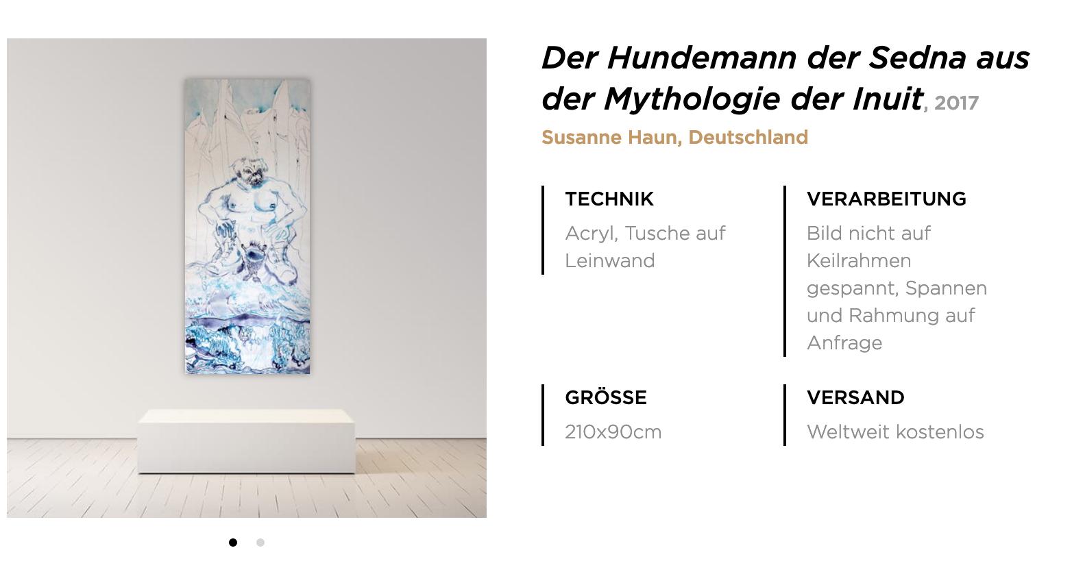 Präsentation der Leinwand Hundemann von Susanne Haun bei singulart