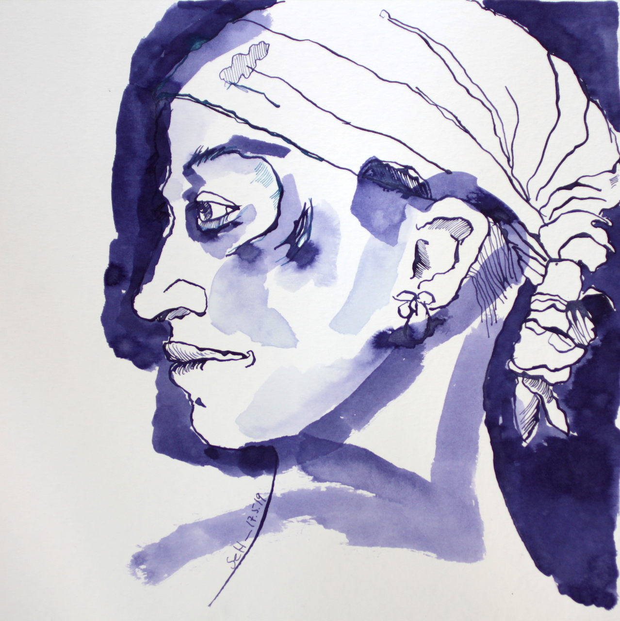 Mein Sinnbild von Tilda Swinton, 30 x 40 cm, Tusche auf Aquarellkarton, Zeichnung von Susanne Haun (c) VG Bild Kunst, Bonn 2019