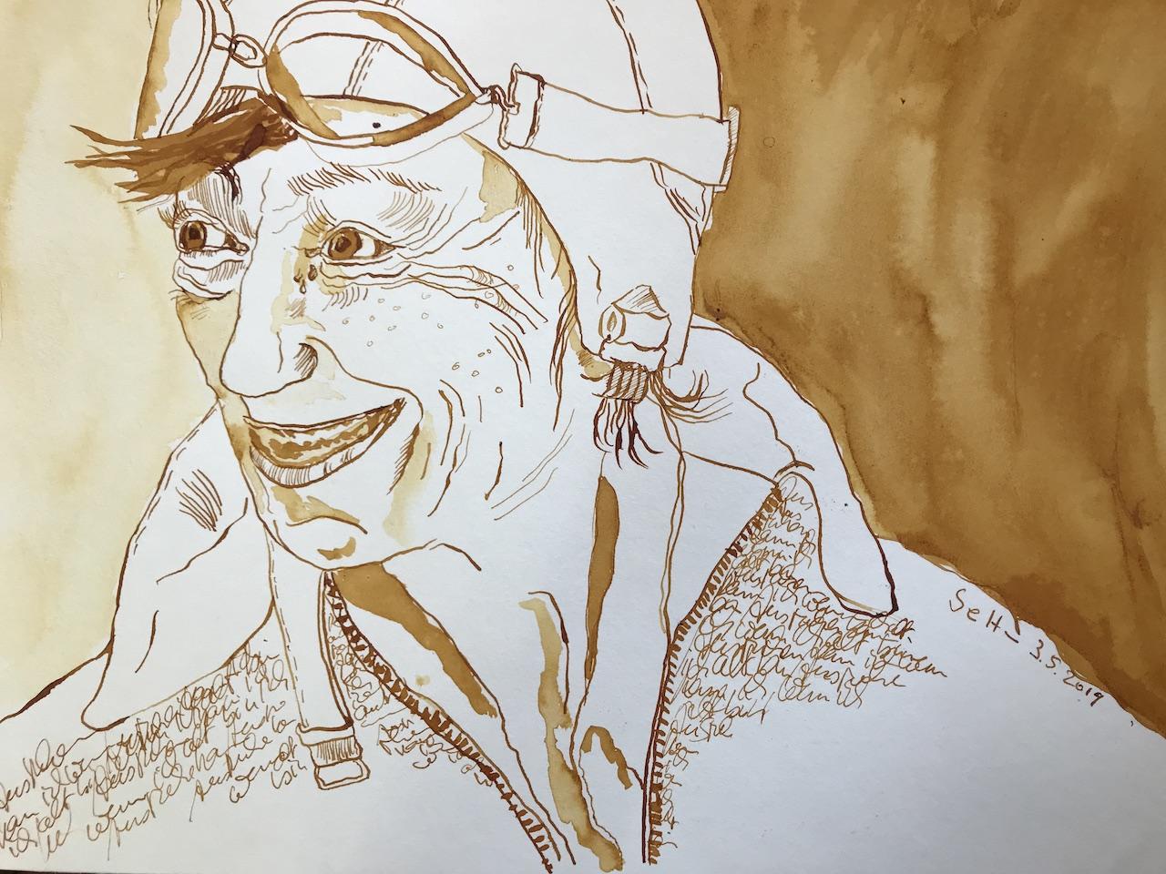 Mein Sinnbild von Heidi Hetzer, 30 x 40 cm, Tusche auf Aquarellkarton, Zeichnung von Susanne Haun (c) VG Bild Kunst, Bonn 2019
