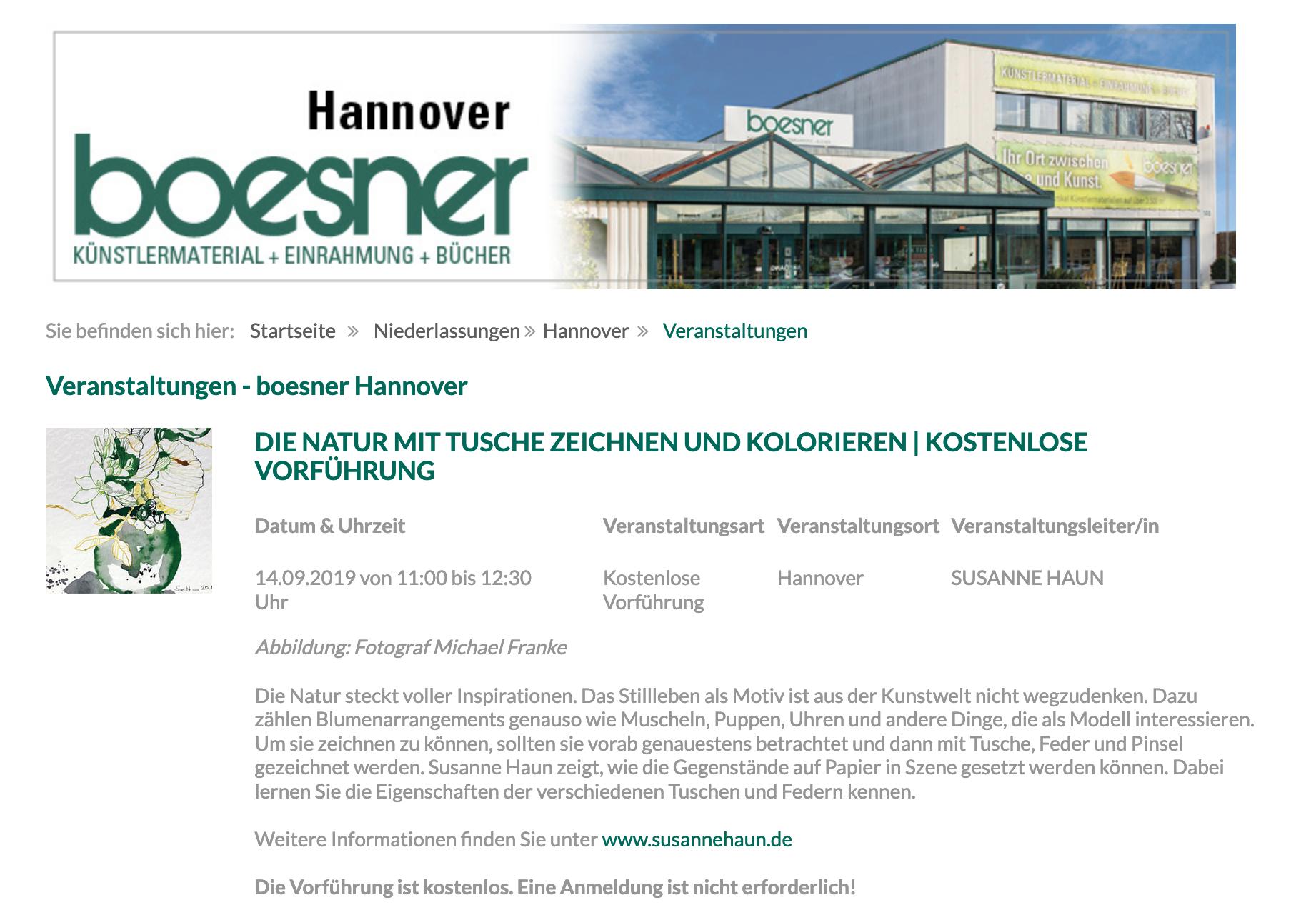 Susanne Haun bei Boesner Hannover, Vorführung Florales zeichnen