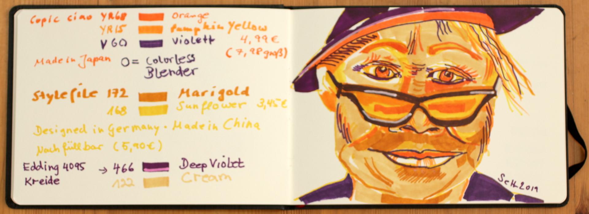 Vorübung zu Yoko Ono, wasserloeslicher und permanente Marker Marker in Hahnemuehle Watercolour Book, Zeichnung von Susanne Haun (c) VG Bild-Kunst, Bonn 2019