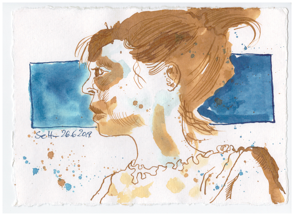 Selbst im Halbprofil, Tusche auf handgeschöpftes Büttenpapier, Zeichnung von Susanne Haun (c) VG Bild-Kunst, Bonn 2019