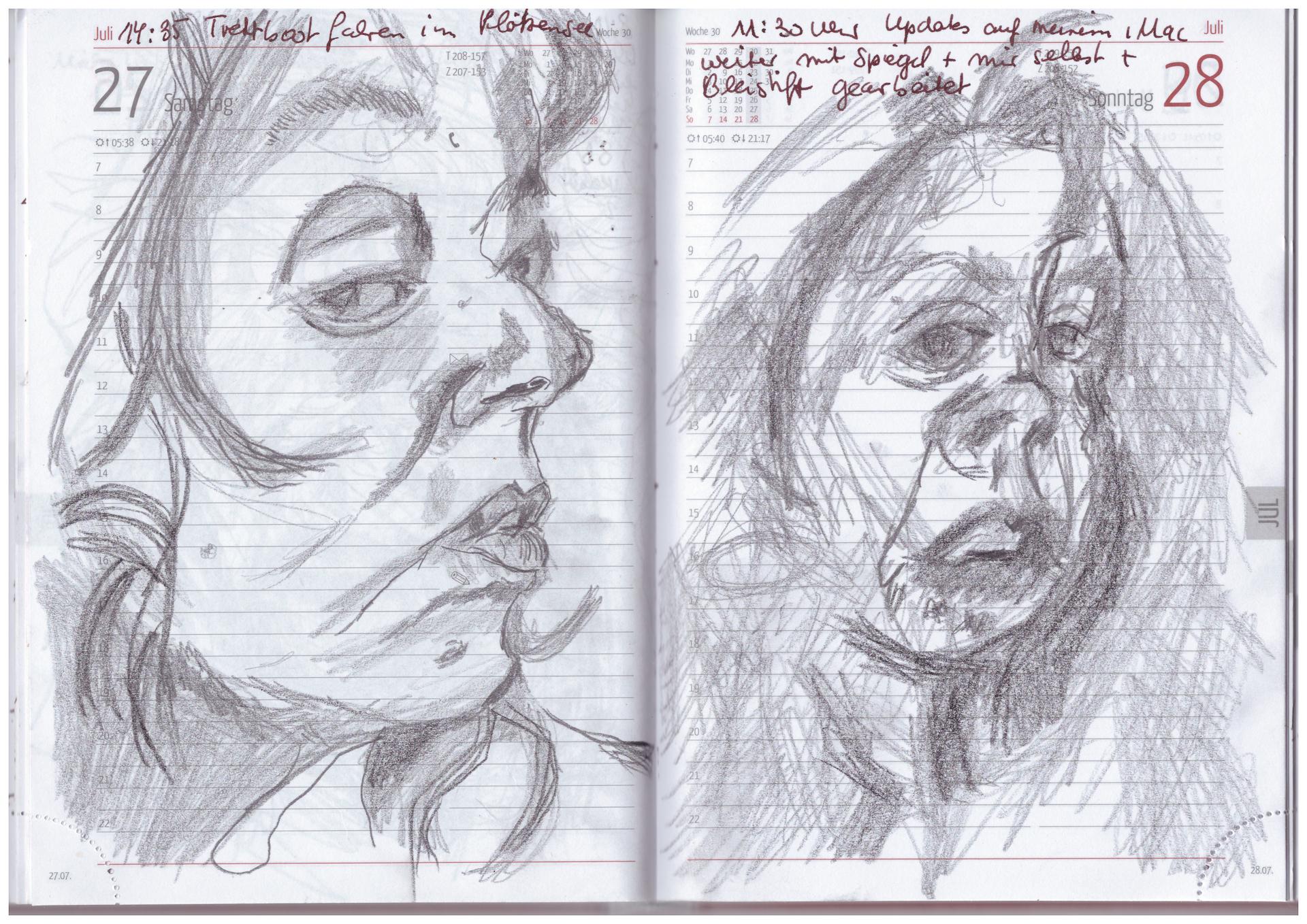 Selbstportraitkalender 19.7. - 31.7.2019, Zeichnung von Susanne Haun (c) VG Bild-Kunst, Bonn 2019