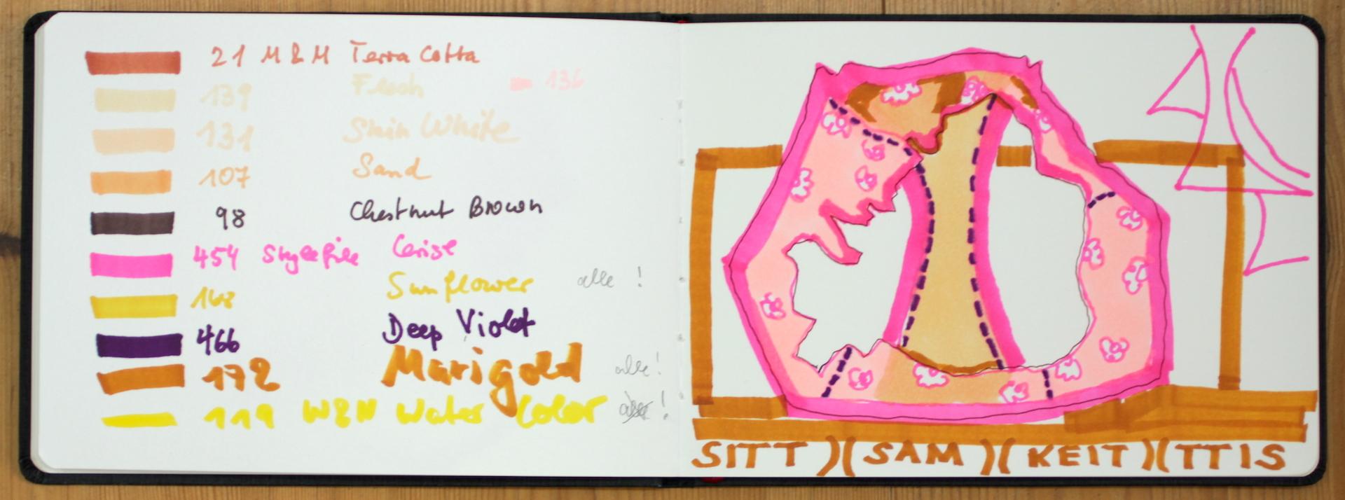 Der Zwickel ist immer dada, Zeichnung von Susanne Haun im Watercolour Skizzenbuch von Hahnemuehle (c) VG Bild-Kunst, Bonn 2018