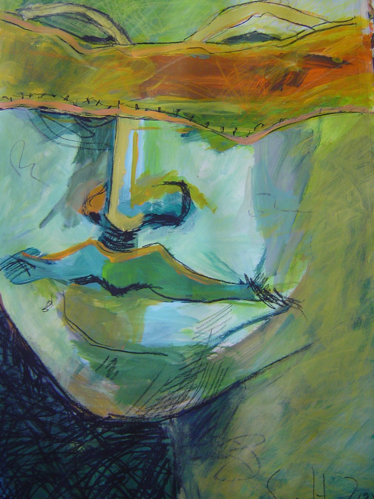Wie Blind sind wir, 70 x 100 cm, 2005, Arcyl und Ölkreide auf Papier, Zeichnung von Susanne Haun (C) VG Bild Kunst, Bonn 2019