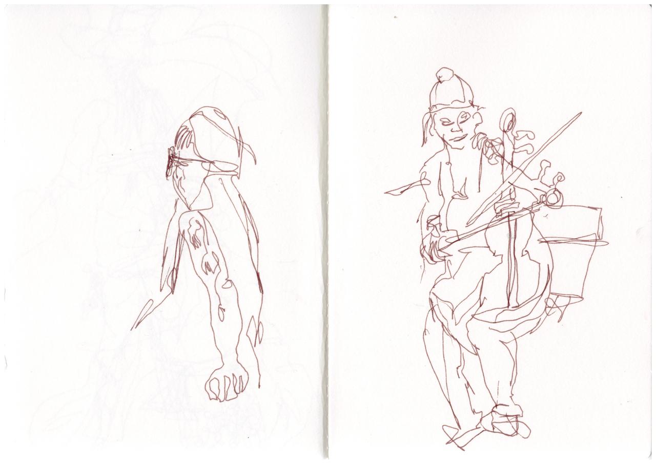 Aus dem Skizzenbuch - Botanische Nacht Berlin, Zeichnung von Susanne Haun (c) VG Bild-Kunst, Bonn 2019