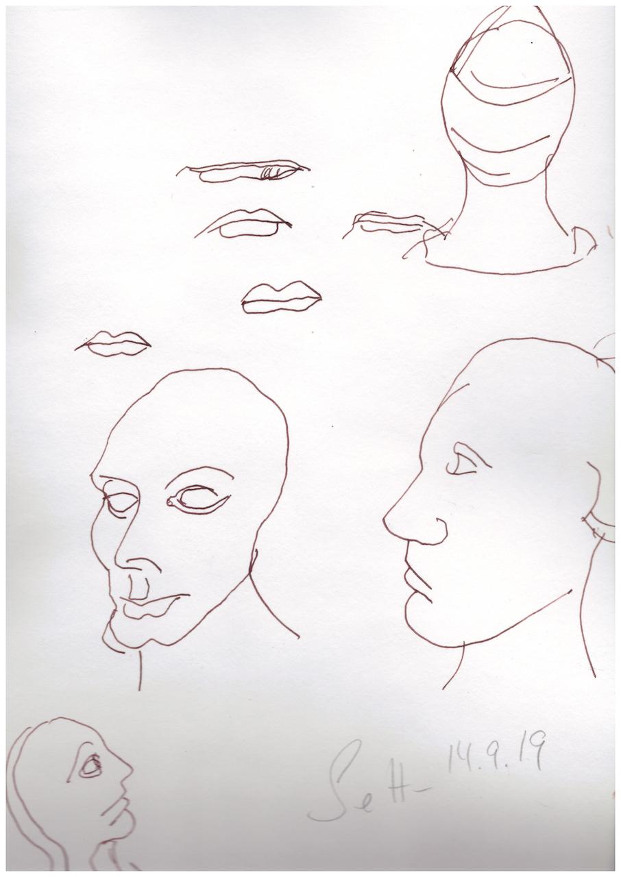 Der Mund, Aquarellkarton, 32 x 24 cm, Zeichnung von Susanne Haun (c) VG Bild-Kunst, Bonn 2019