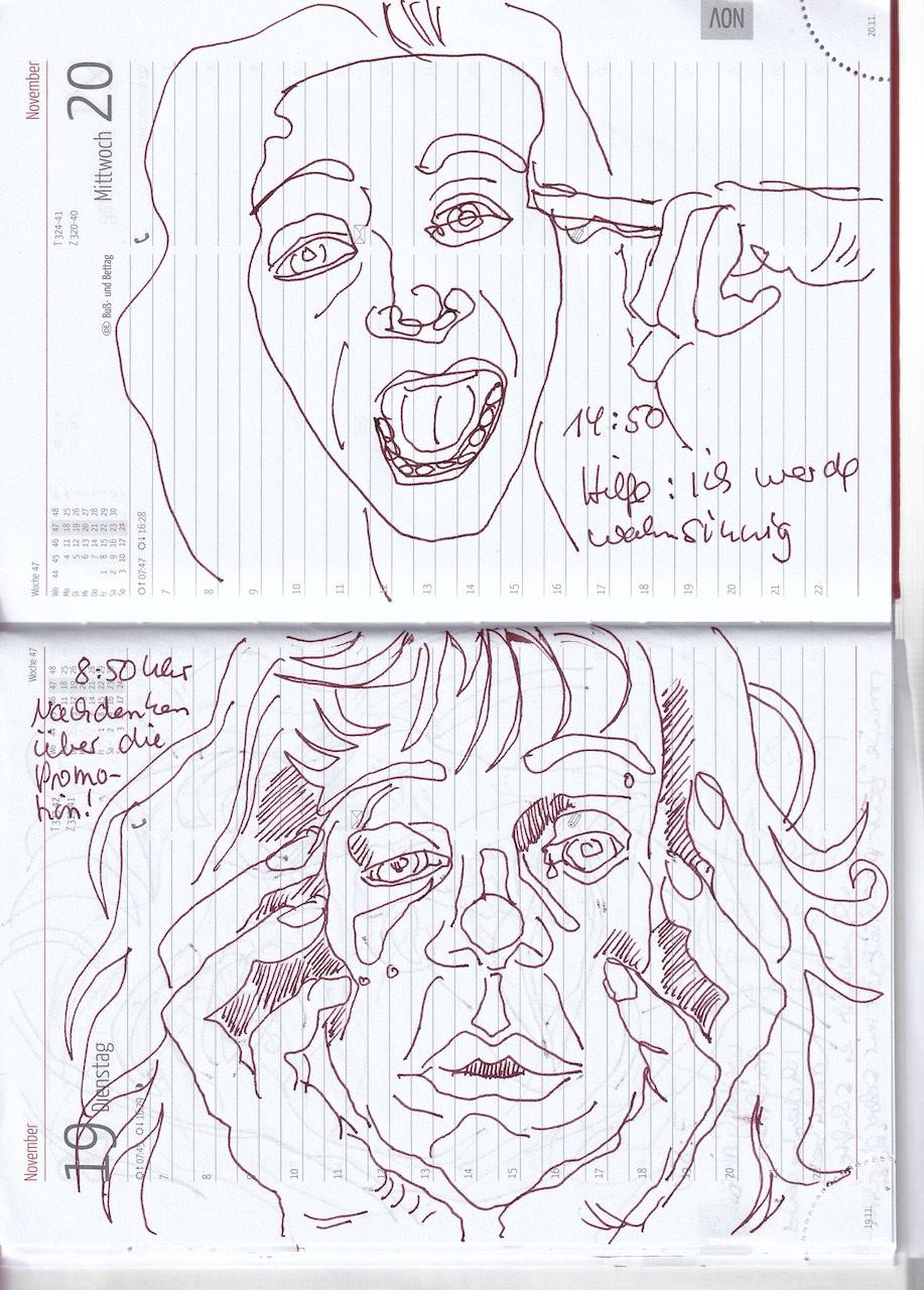 Selbstbildnisstagebuch 11.11. – 27.11.2019, Zeichnung von Susanne Haun (c) VG Bild-Kunst, Bonn 2019