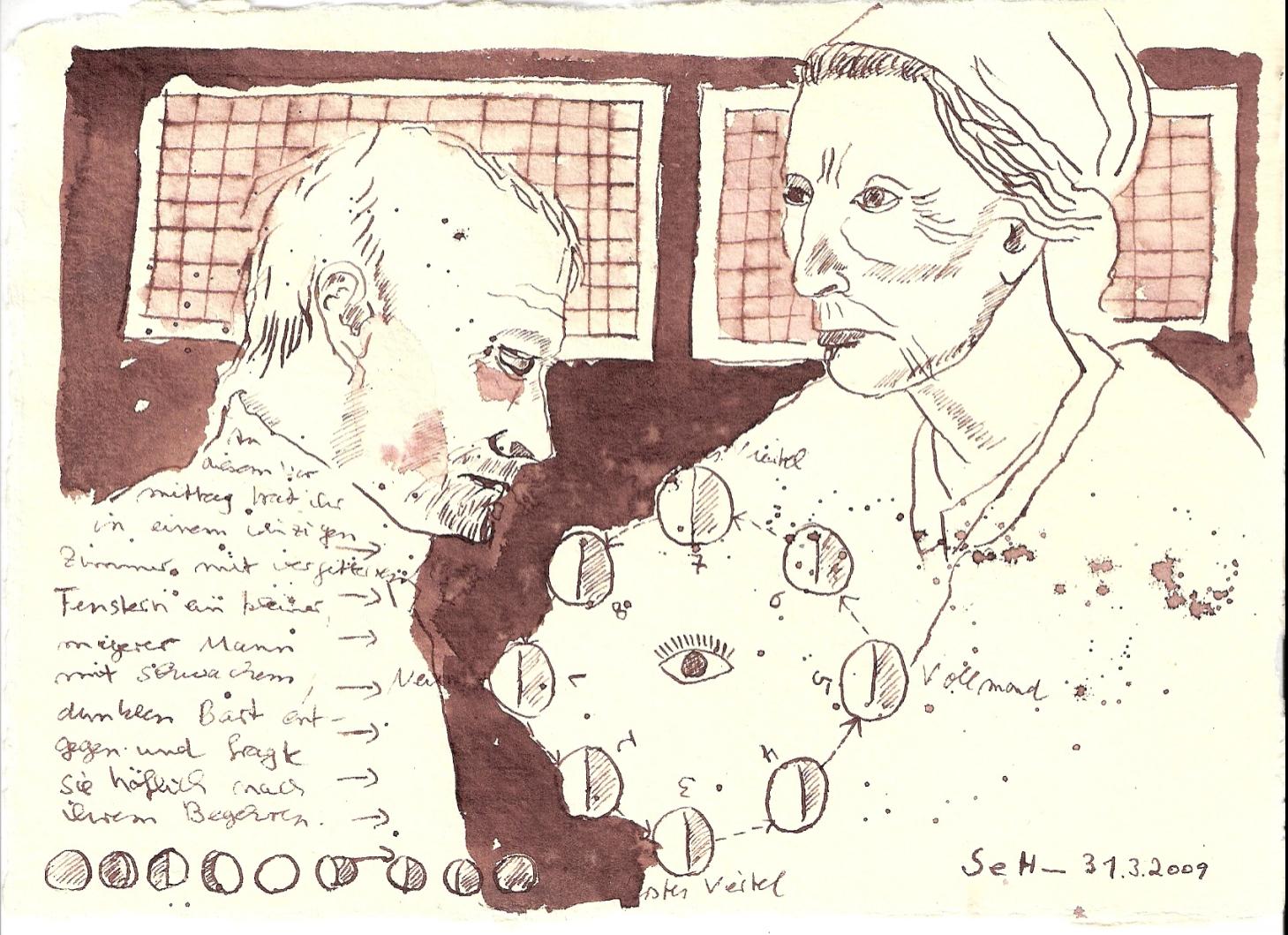 """""""An diesem Vormittag trat ihr in einem winzigen Zimmer mit vergitterten Fenstern ein kleiner, magerer Mann mit schwachem, dunklem Bart entgegen"""", Tusche auf Silberburg Büttenpapier 15 x 20 cm, 2009(c) Zeichnung von Susanne"""
