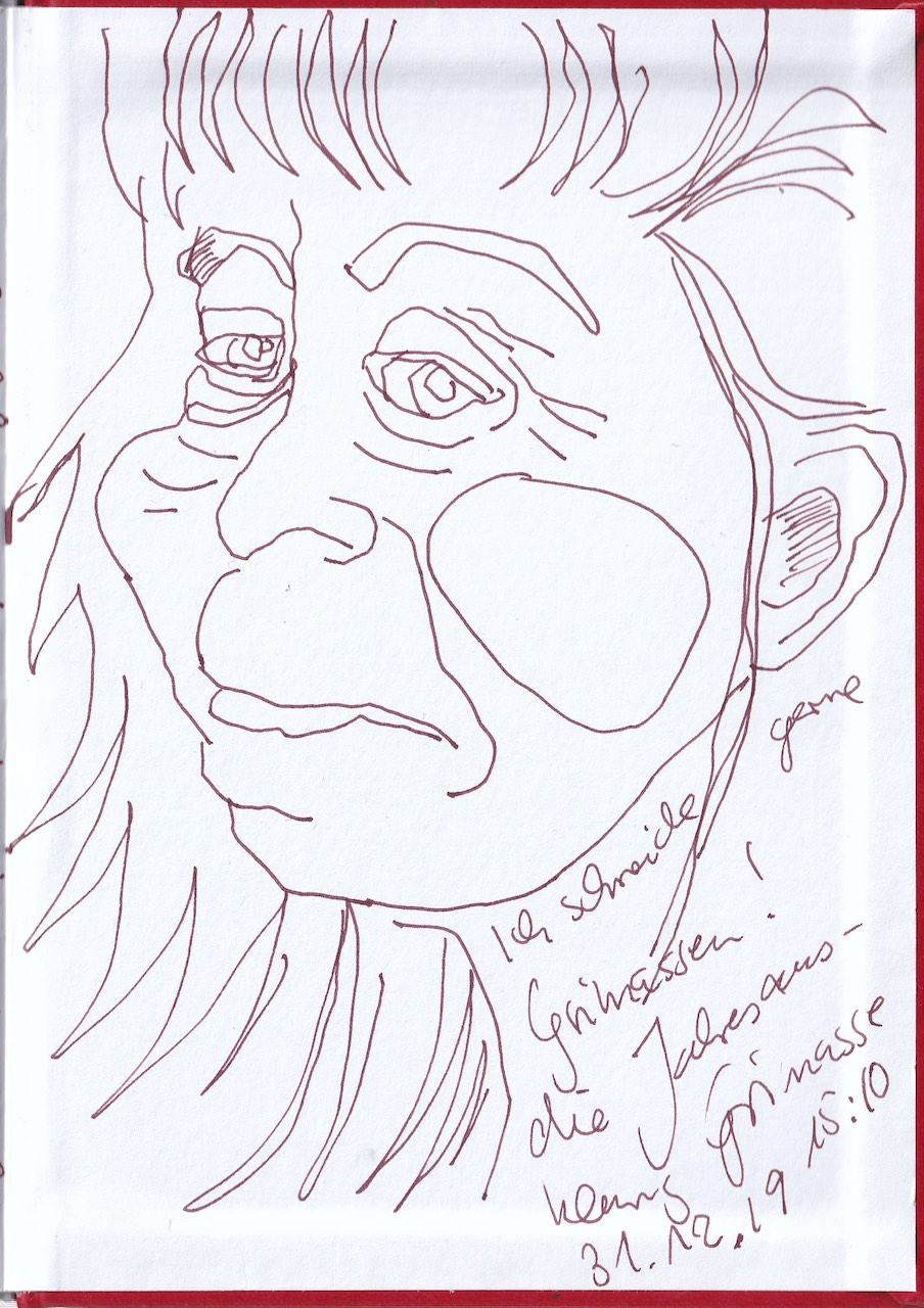 Selbstbildnisstagebuch 18.11. – 31.12.2019, Zeichnung von Susanne Haun (c) VG Bild-Kunst, Bonn 2019