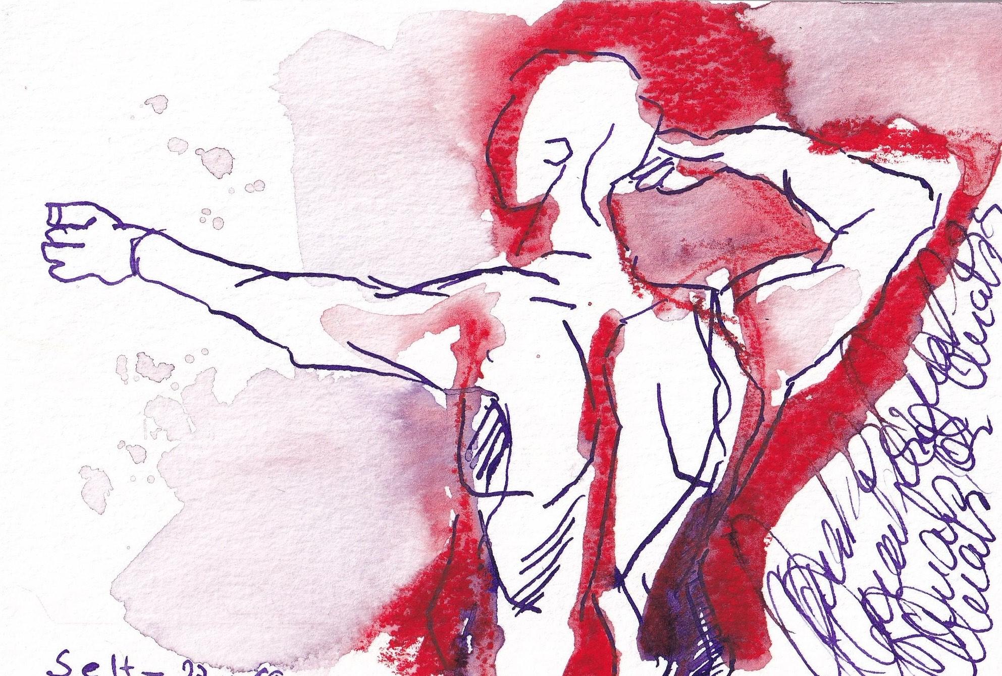 Inspiriert von der Weihnachts-Amaryllis, 13 x 18 cm, Tusche auf Aquarellkarton, Zeichnung von Susanne Haun (c) VG Bild-Kunst, Bonn 2019