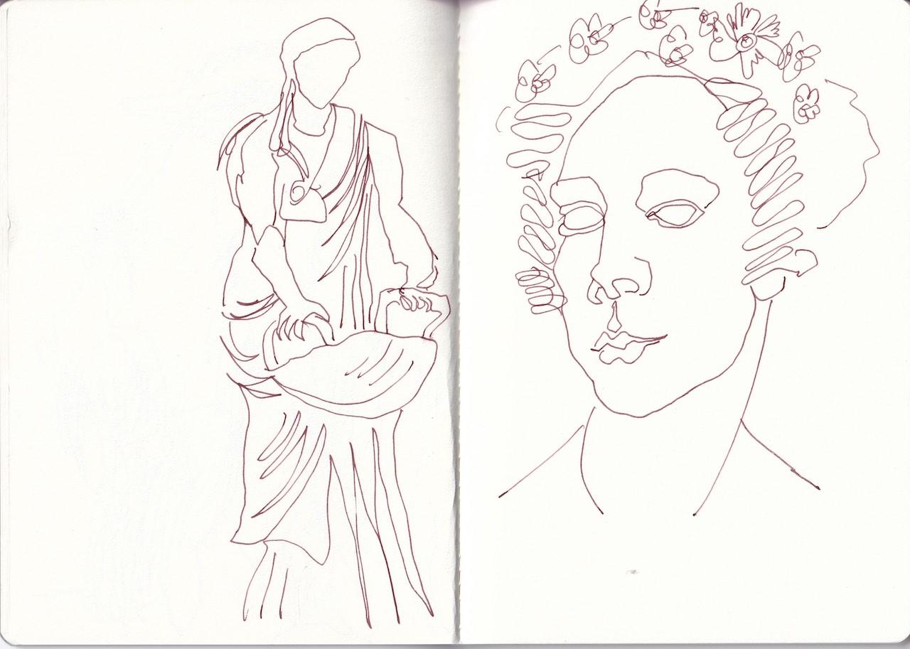 Skizzenbuch Schlosspark Charlottenburg, Zeichnung von Susanne Haun (c) VG Bild-Kunst, Bonn 2020