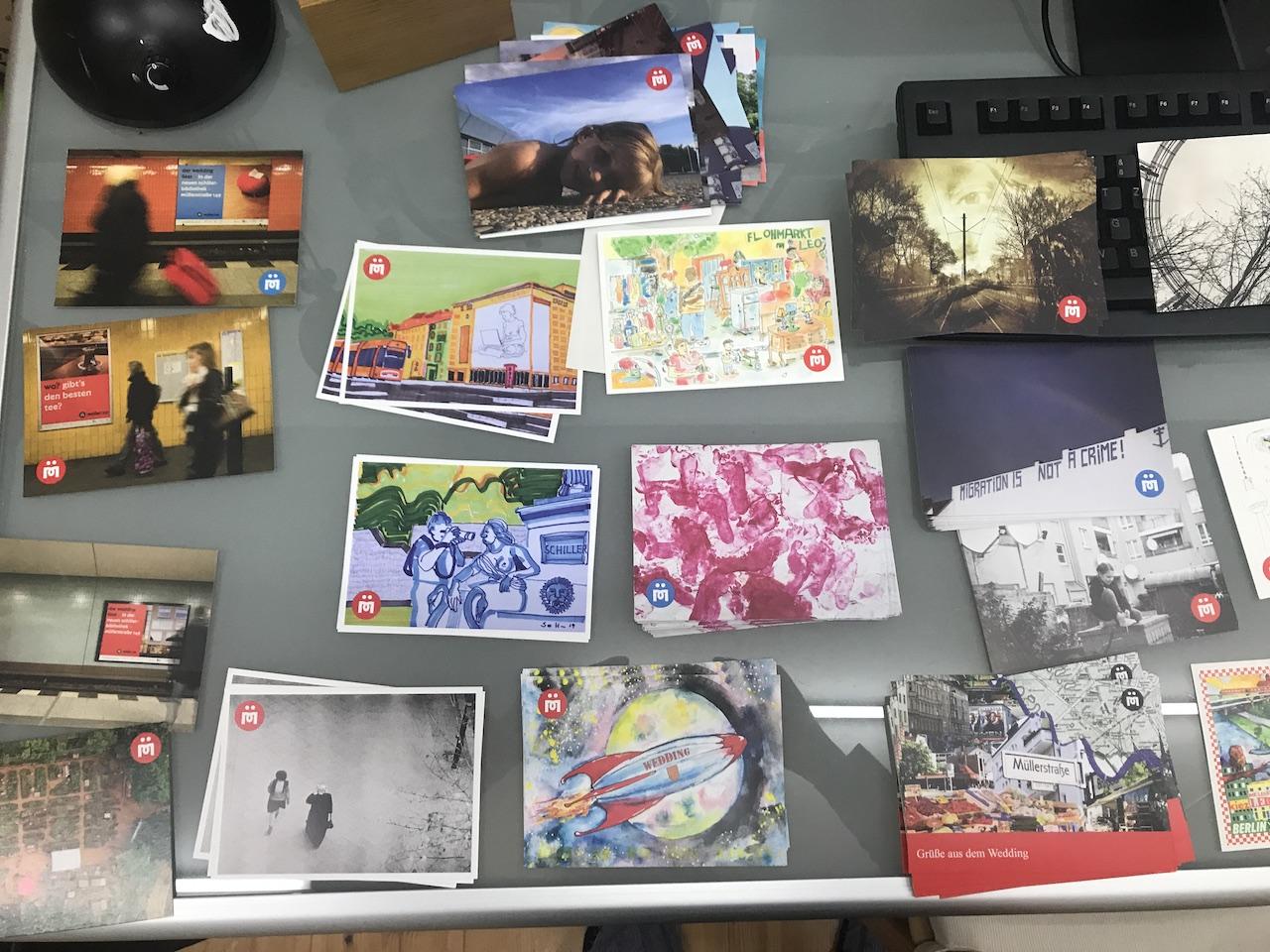 Eine Auswahl an Postkarten der vergangenen Aktionen Mein Wedding (c) Foto von Susanne Haun