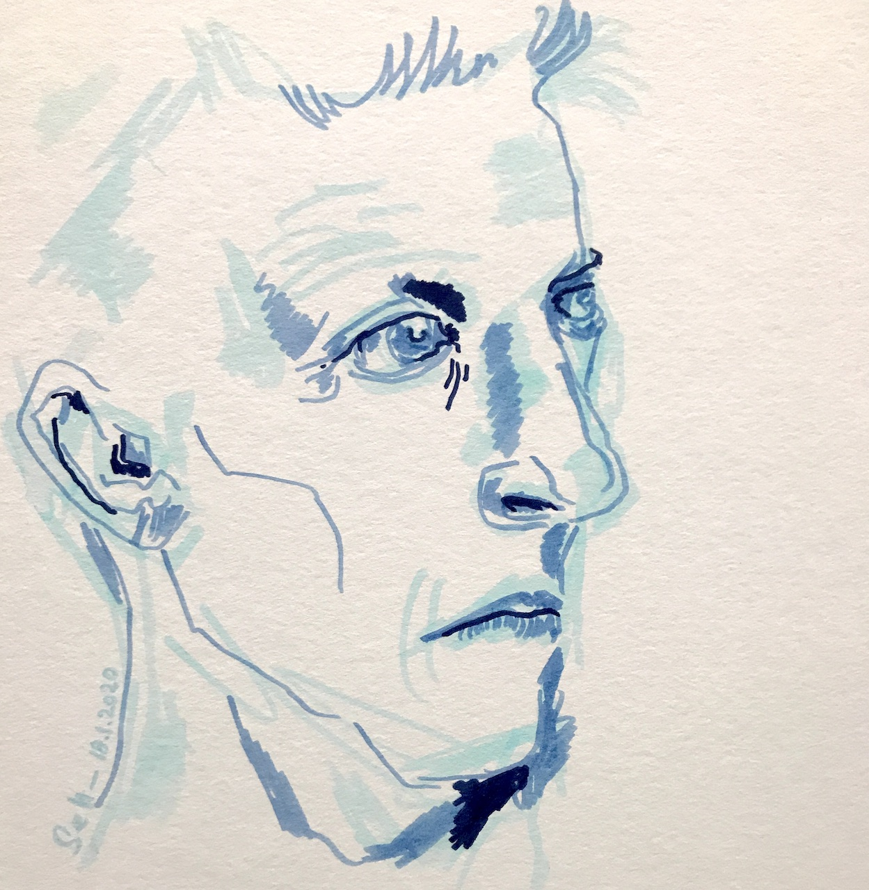 Wittgenstein, Marker auf Aqauarellkarton, 25 x 25 cm, 2020 (c) Zeichnung von Susanne Haun