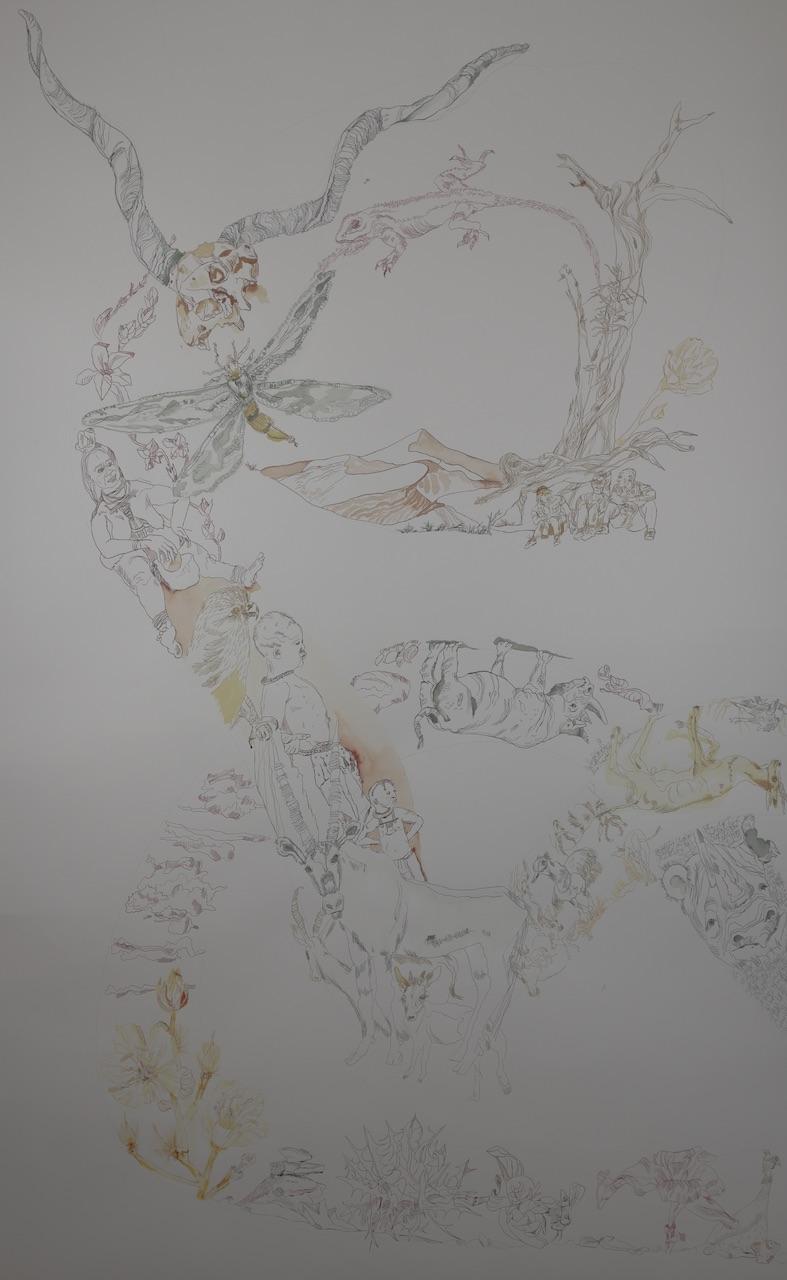 1. Lighroom Movement of Capetown, South Africa, 200 x 125 cm, Tusche auf Aquarellkarton, Zeichnung von Susanne Haun (c) VG Bild-Kunst, Bonn 2020