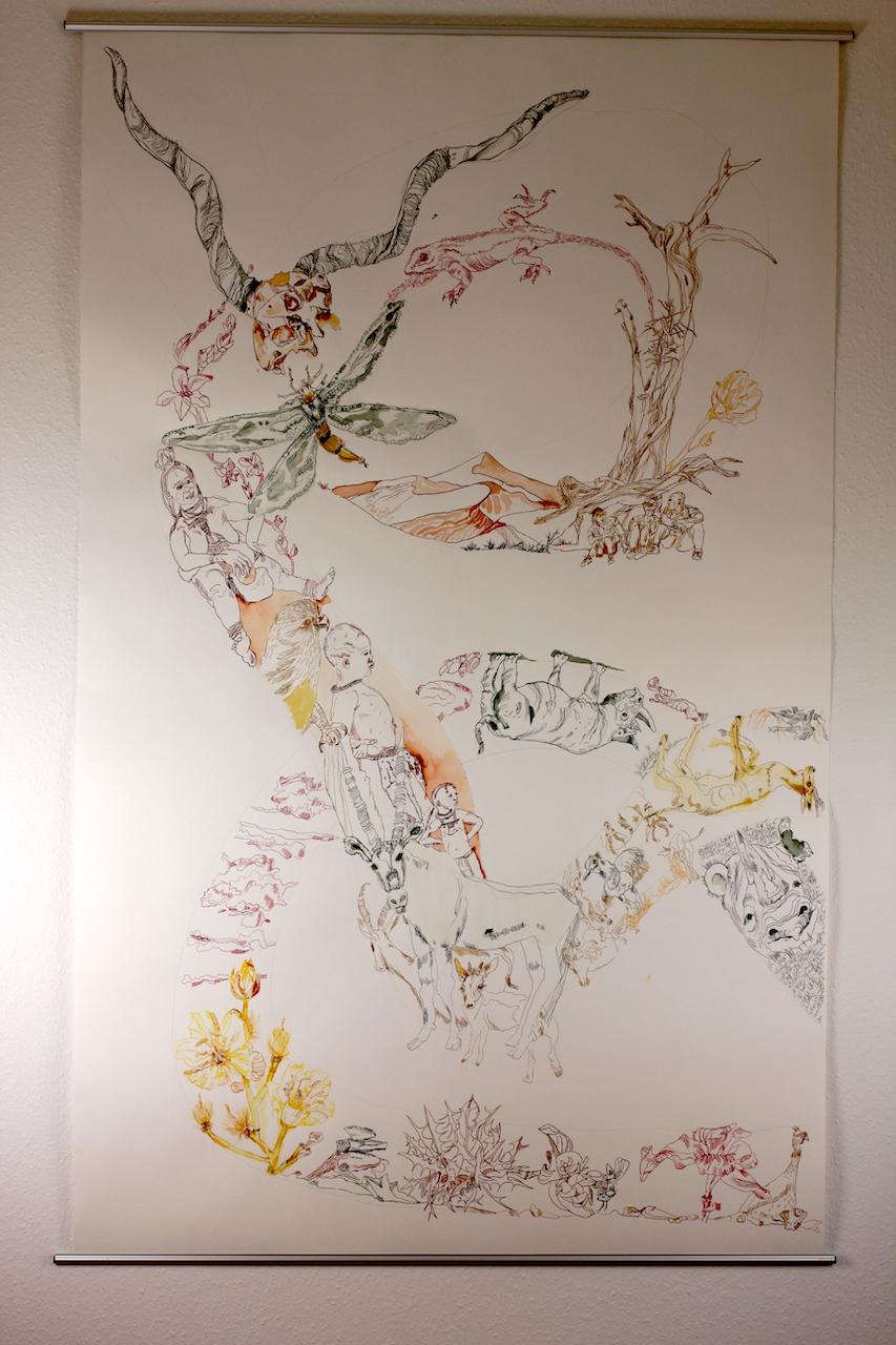 2. Versuch, bearbeitet, Movement of Capetown, South Africa, 200 x 125 cm, Tusche auf Aquarellkarton, Zeichnung von Susanne Haun (c) VG Bild-Kunst, Bonn 2020