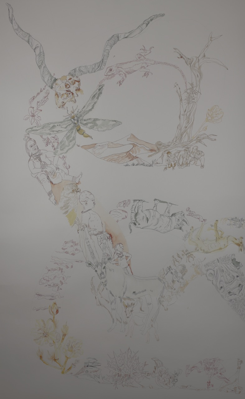 3. Lighroom Movement of Capetown, South Africa, 200 x 125 cm, Tusche auf Aquarellkarton, Zeichnung von Susanne Haun (c) VG Bild-Kunst, Bonn 2020