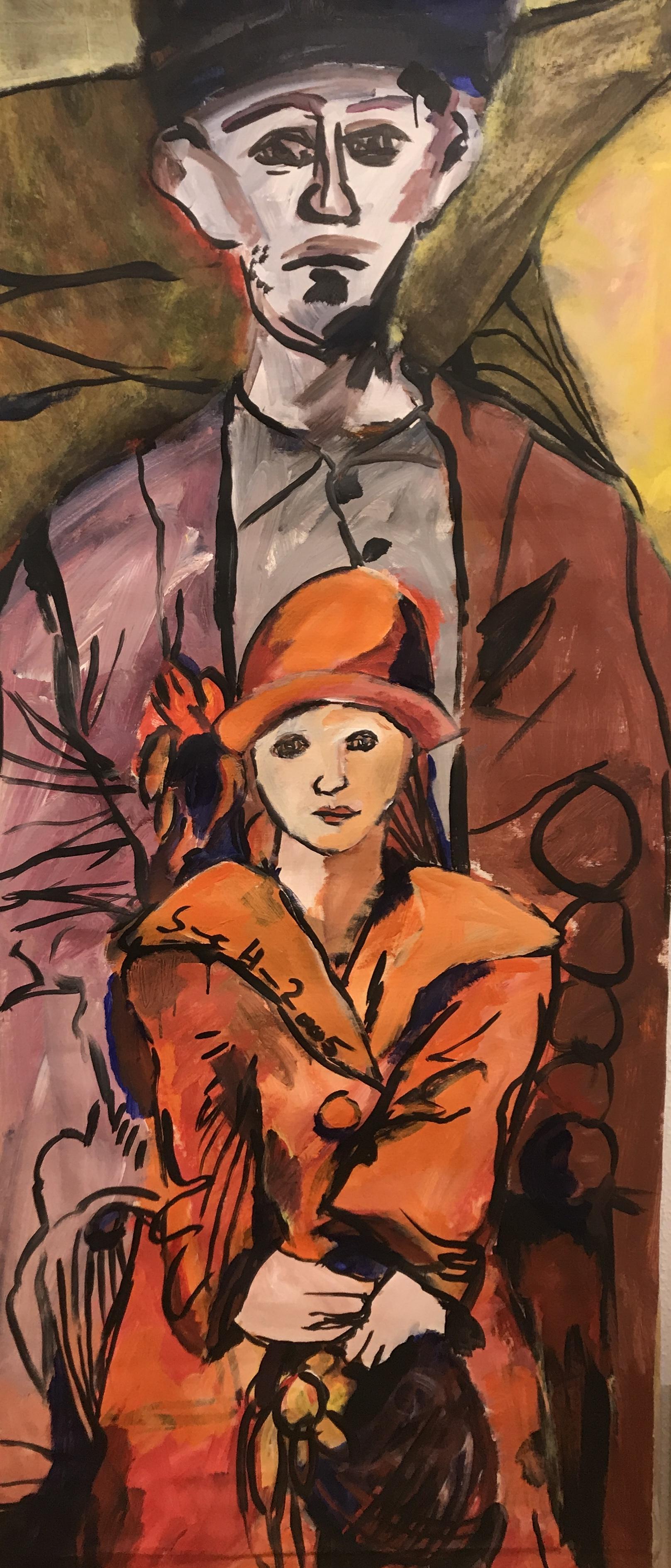 Vater und Tochter,2005, 186 x 79,5 cm, Acryl und Tusche auf Leinwand, Gemälde von Susanne Haun (c) VG Bild-Kunst, Bonn 2020