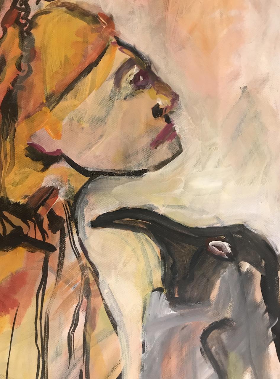 Ausschnitt, Im Gespraech mit den Pinguinen, 100 x 30 cm, 2007, Acryl auf Leinwand (c) Gemaelde von Susanne Haun
