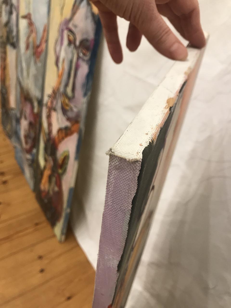 Seitenansicht, Im Gespraech mit den Pinguinen, 100 x 30 cm, 2007, Acryl auf Leinwand (c) Gemaelde von Susanne Haun