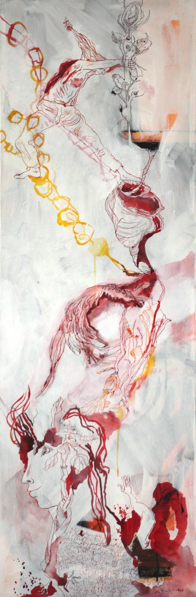 Maria und der Erbsenbaum, 148 x 50 cm, Acryl und Tusche auf Leinwand, Gemälde von Susanne Haun (c) VG Bild-Kunst, Bonn 2020