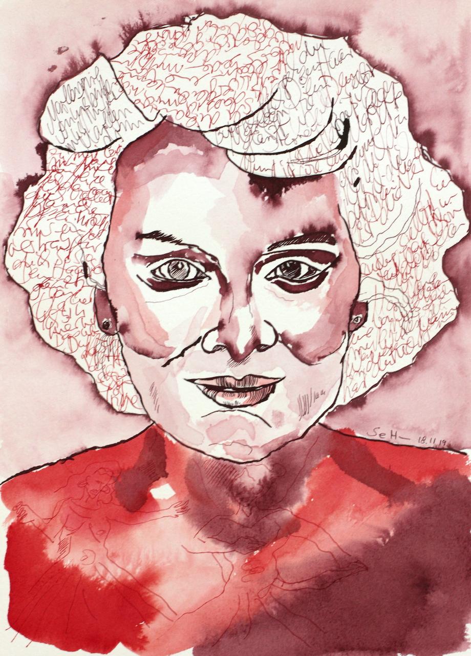 Mein Sinnbild von Marianne Rosenberg, 36 x 26 cm, Tusche auf Aquarellkarton, Zeichnung von Susanne Haun (c) VG Bild-Kunst, Bonn 2020