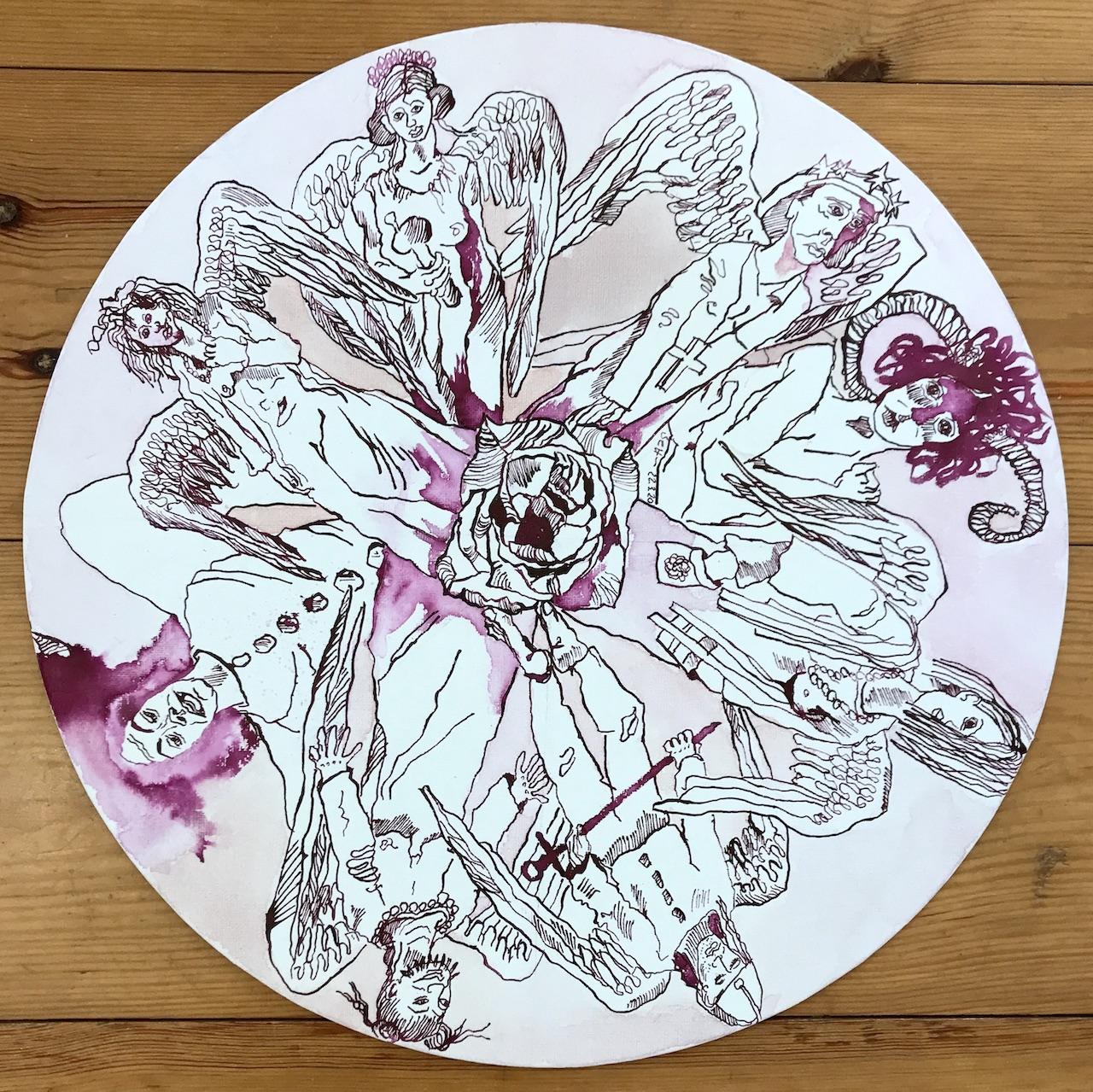 Wieviele Engel passen auf die Nadelspitze, Durchmesser 40 cm, Tusche auf Leinwandkarton, Zeichnung von Susanne Haun (c) VG Bild-Kunst, Bonn 2020