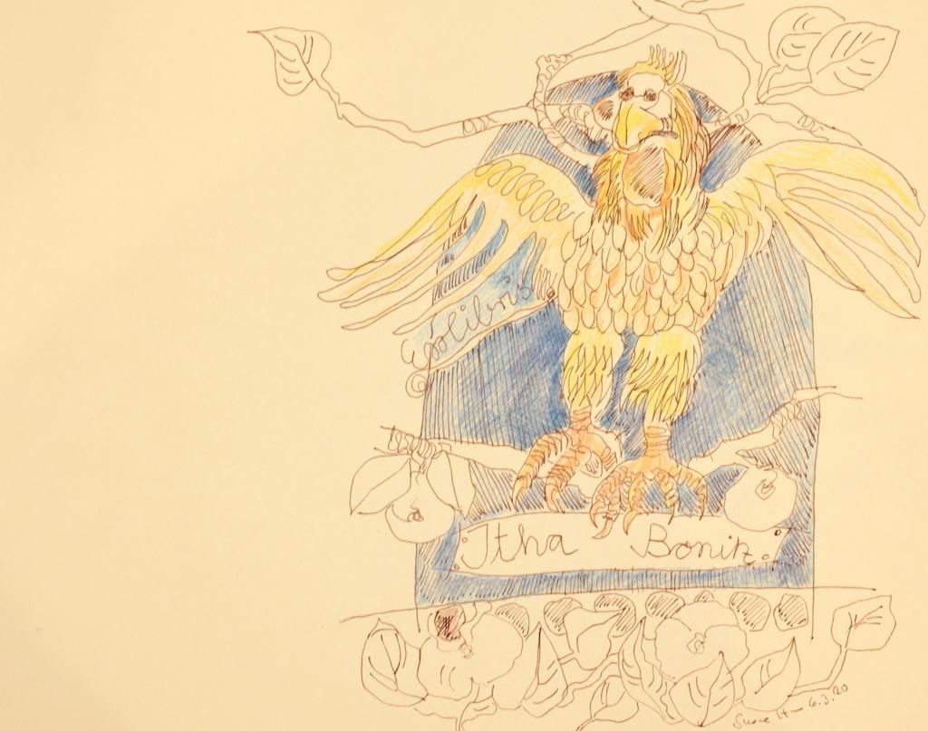 Exlibris Itha Bonitz, Tusche auf Hahnemühle Papier, 256 x 32 cm (c) Zeichnung von Susanne Haun.