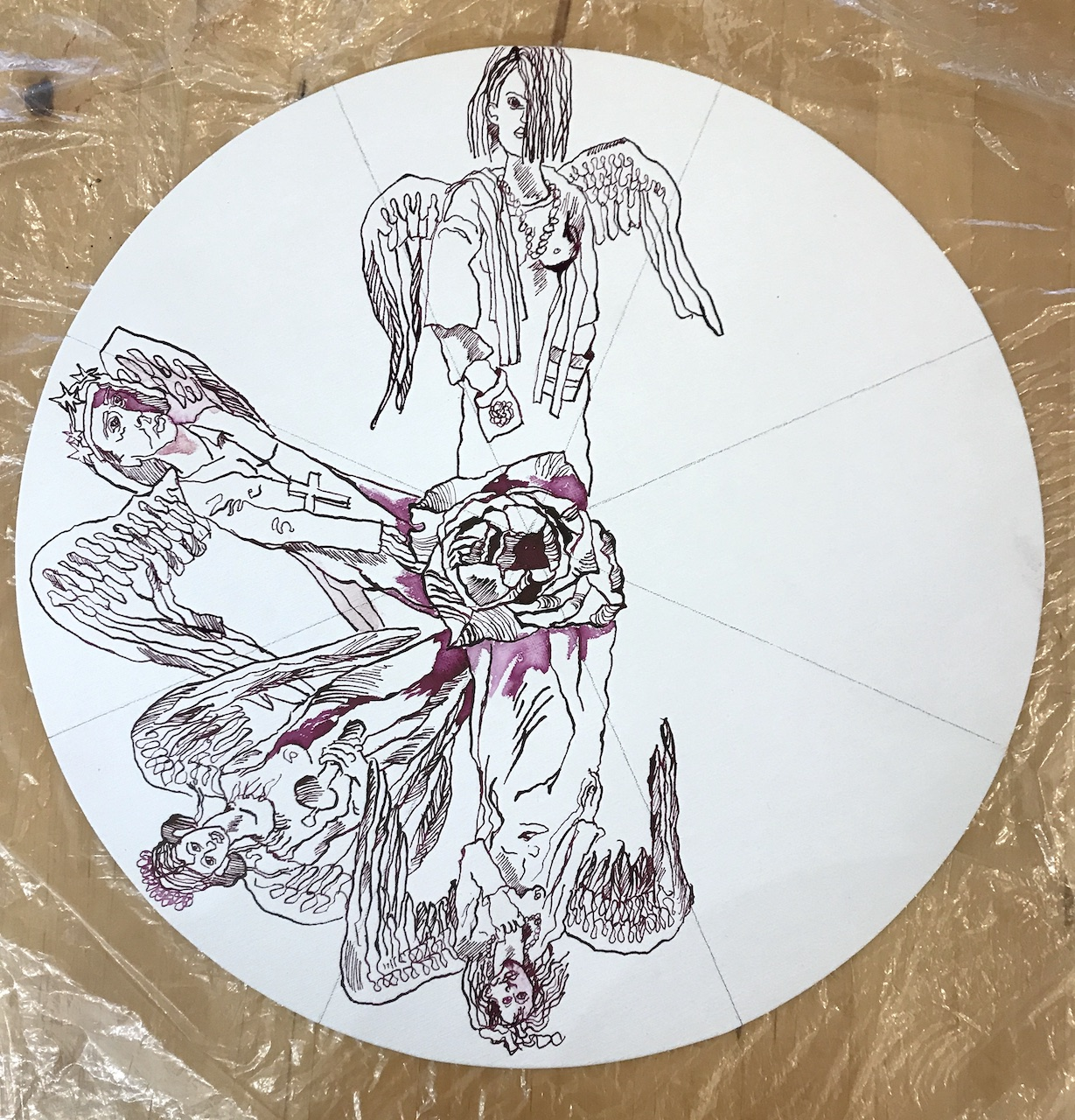 Entstehung - Wieviele Engel passen auf die Nadelspitze, Durchmesser 40 cm, Tusche auf Leinwandkarton, Zeichnung von Susanne Haun (c) VG Bild-Kunst, Bonn 2020