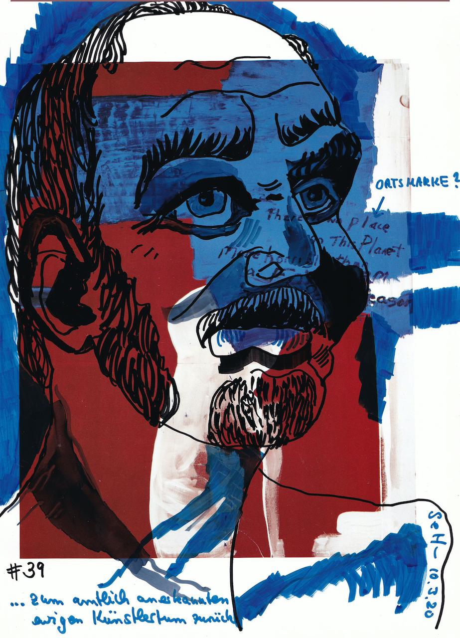 Amtlich anerkannter Kuenstler, 30,5 x 22,7 cm, Marker auf Katalog, Aneignung, Zeichung von Susanne Haun (c) VG Bild-Kunst, Bonn 2020