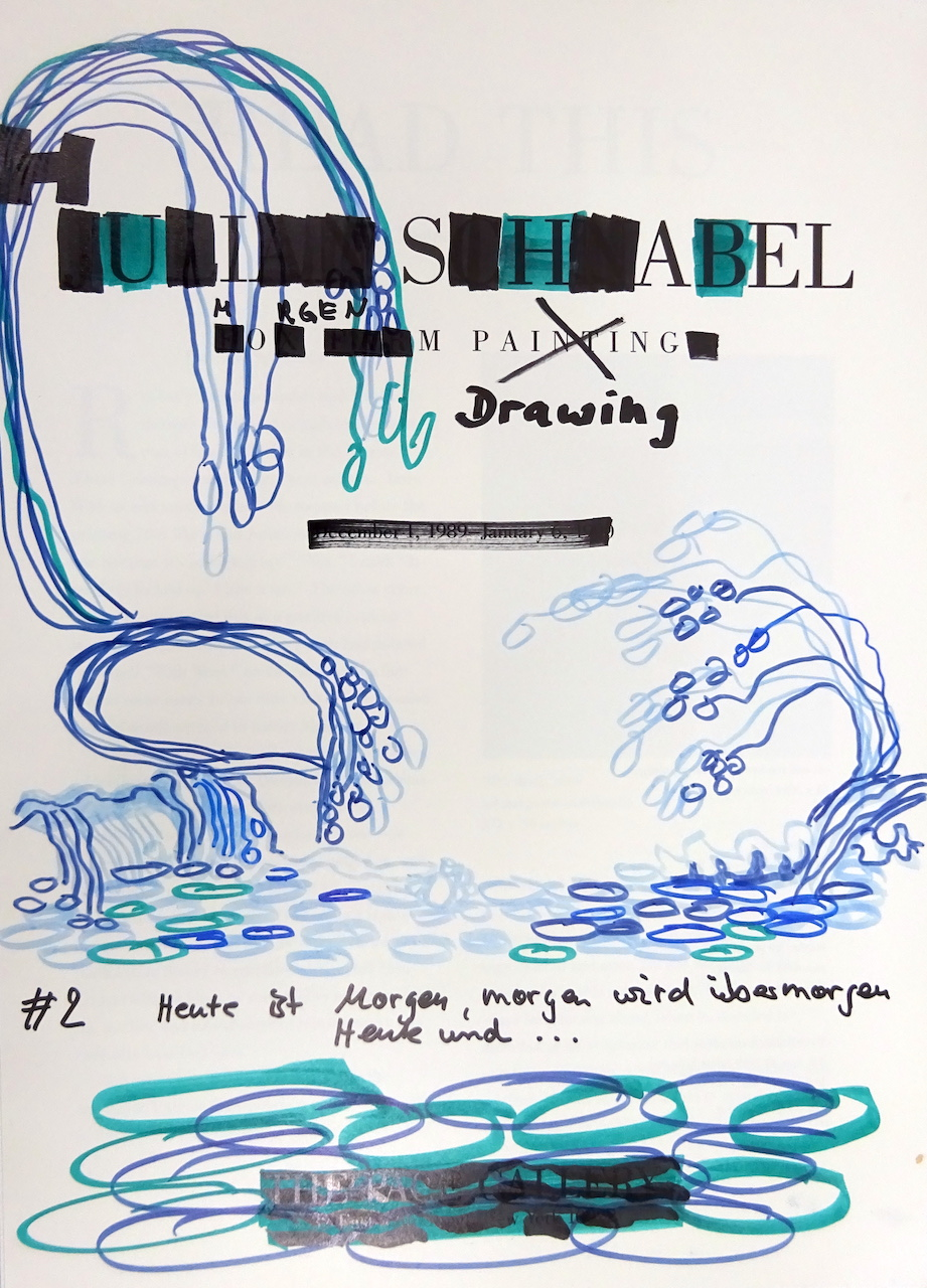 Heute ist Morgen, 30,5 x 22,7 cm, Marker auf Katalog, Aneignung, Zeichung von Susanne Haun (c) VG Bild-Kunst, Bonn 2020