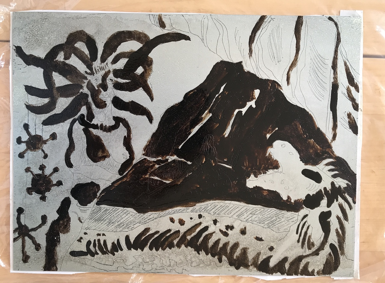 Abgedeckte Zinkplatte, Die blaue Grotte, Version 2, 15 x 20 cm, Aquatinta von Susanne Haun (c) VG Bild-Kunst, Bonn 2020.JPG