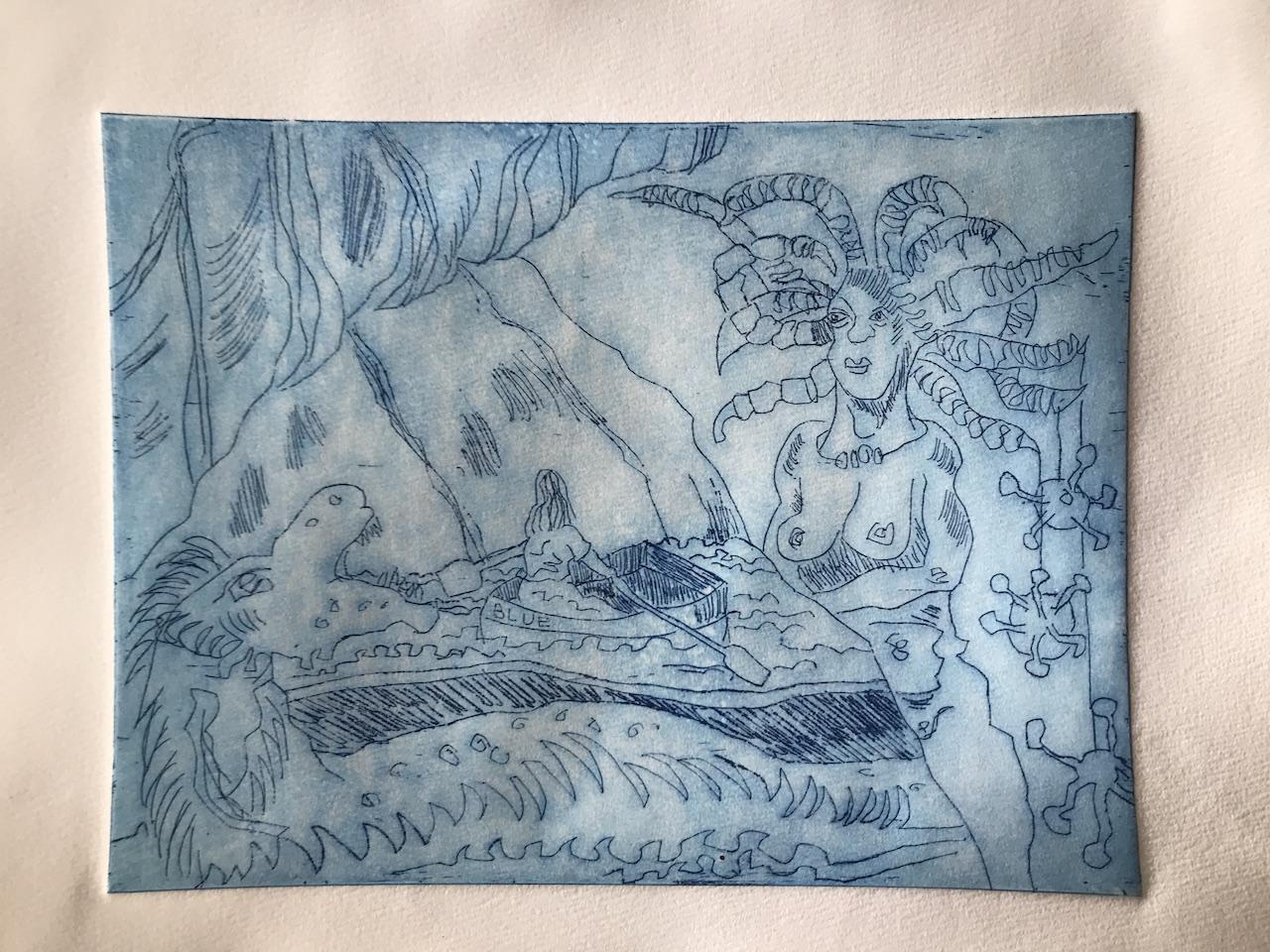 Strichätzung, Die blaue Grotte, Version 2, 15 x 20 cm, Aquatinta von Susanne Haun (c) VG Bild-Kunst, Bonn 2020.JPG
