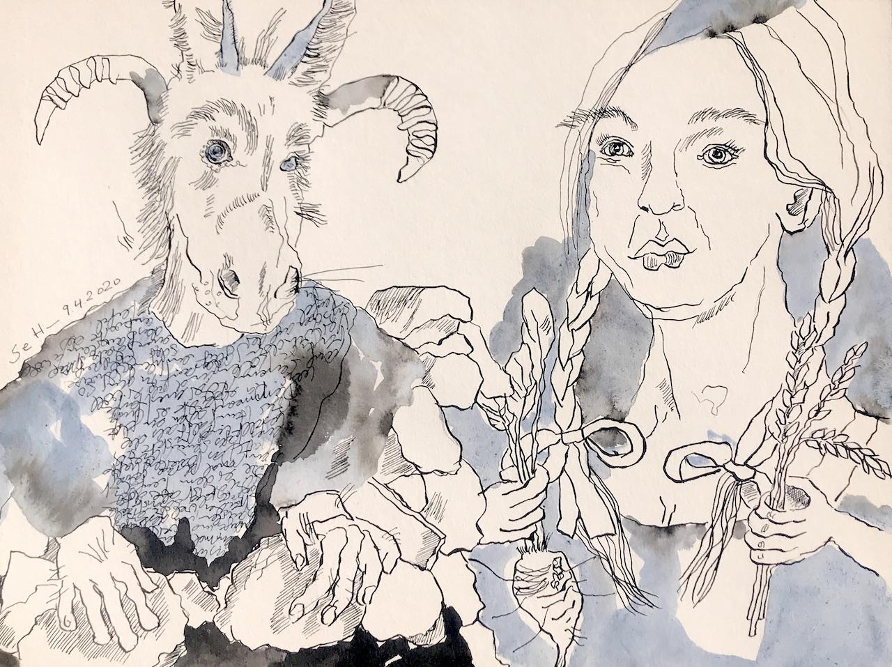 Der Bauer und der Teufel, 30 x 40 cm, Tusche auf Aquarellkarton (c) VG Bild-Kunst, Bonn 2020