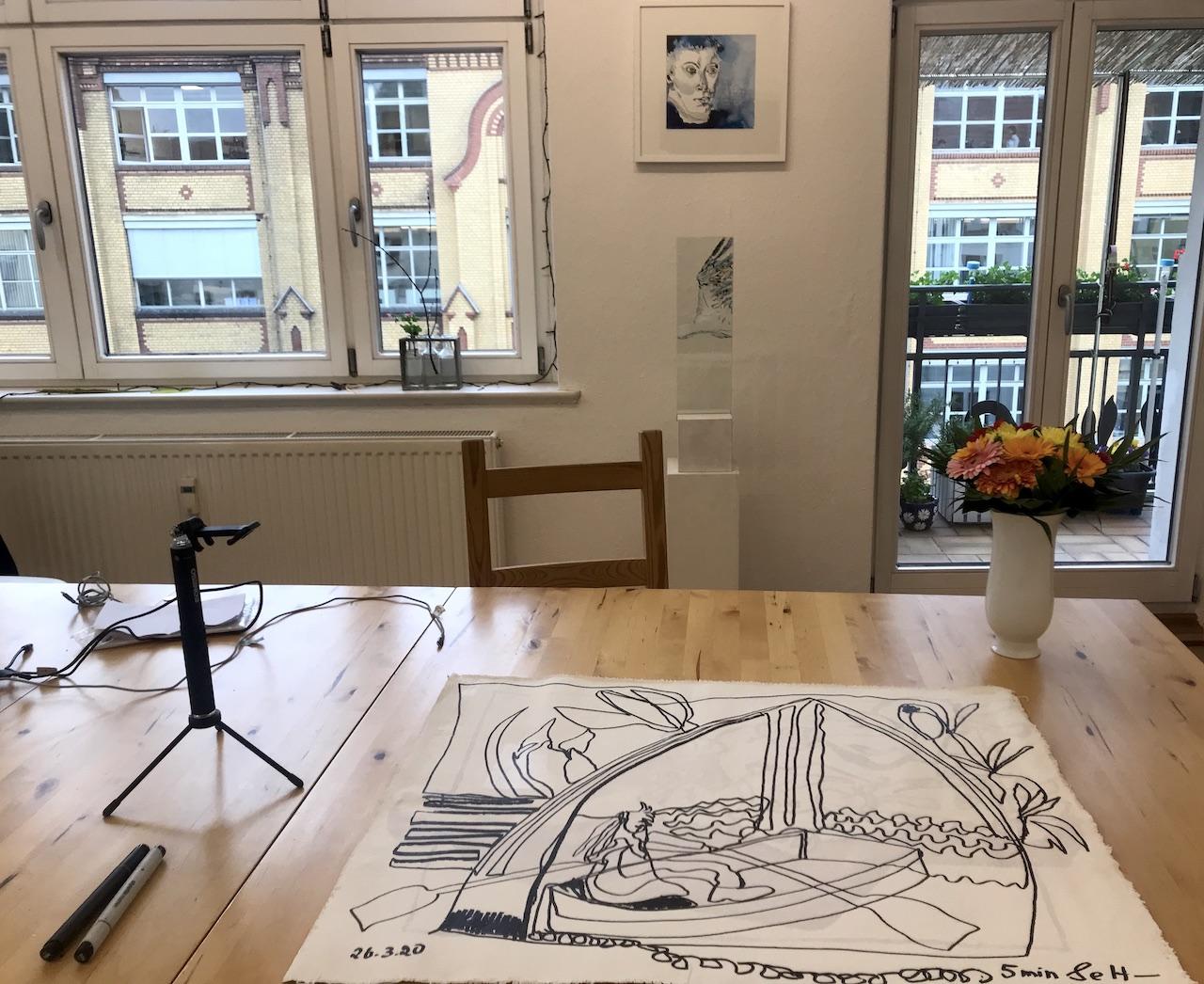 Atelierblick - Doppelter Blick aus dem Fenster, 57 x 73,5 cm, Zeichnung auf Leinwand von Susanne Haun (c) VG Bild-Kunst, Bonn 2020
